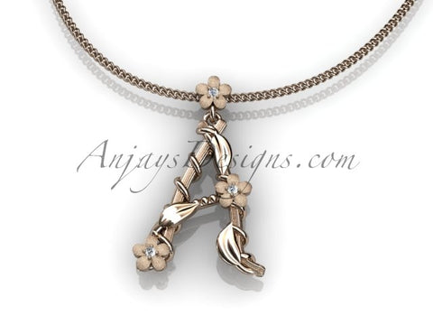 14k rosegold diamond floral, leaf and vine initial pendant ADLR196tweet - AnjaysDesigns