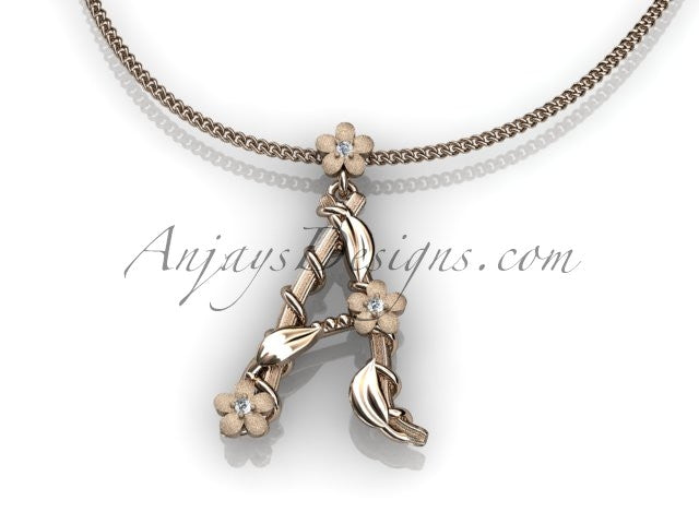 14k rose gold diamond floral, leaf and vine initial pendant ADLR196 - AnjaysDesigns, Spring Collection - Jewelry, Anjays Designs - AnjaysDesigns, AnjaysDesigns - AnjaysDesigns.co,