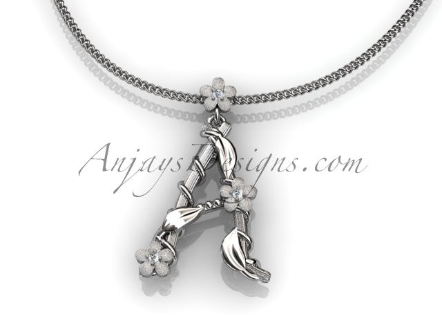 14k white gold diamond floral, leaf and vine initial pendant ADLR196 - AnjaysDesigns