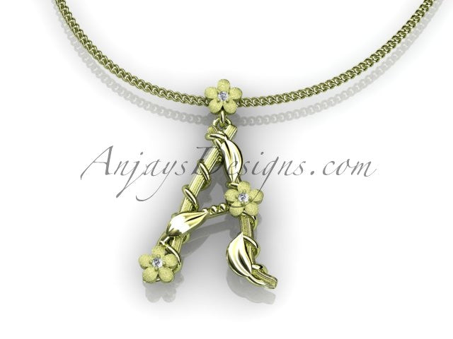 14k yellow gold diamond floral, leaf and vine initial pendant ADLR196 - AnjaysDesigns