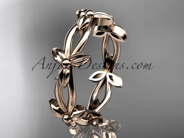 14k rose gold leaf and vine wedding ring, engagement ring ADLR19C - AnjaysDesigns