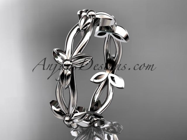 platinum leaf and vine wedding ring,engagement ring ADLR19C - AnjaysDesigns