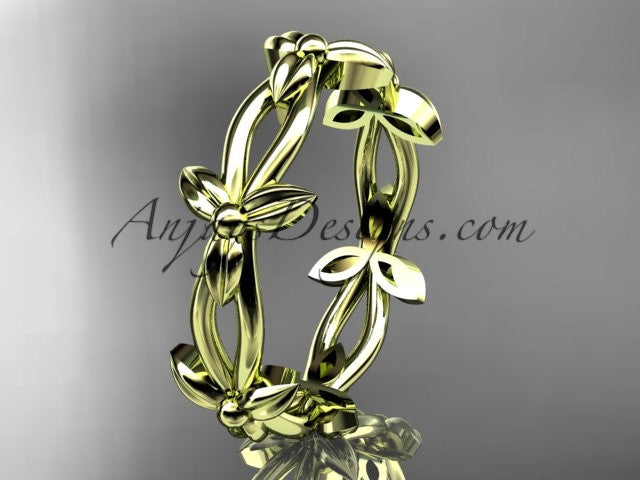 14k yellow gold leaf and vine wedding ring, engagement ring ADLR19C - AnjaysDesigns