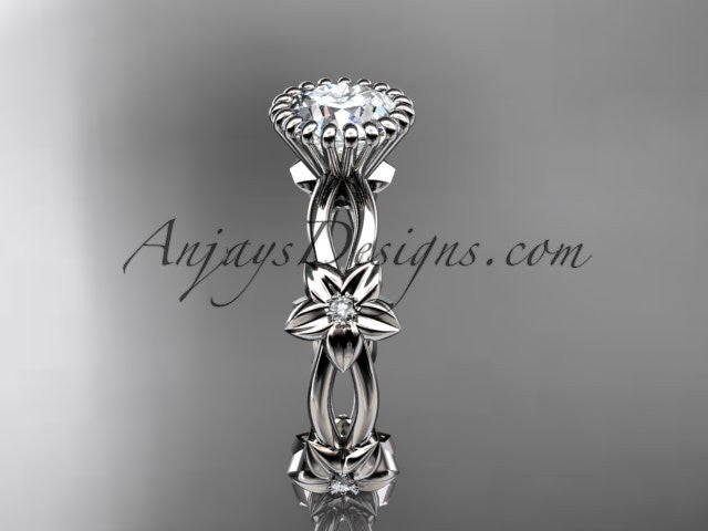 14k white gold diamond leaf and vine wedding ring,engagement ring ADLR19D - AnjaysDesigns