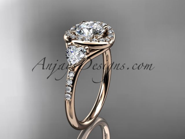 14kt rose gold diamond unique engagement ring,wedding ring  ADLR201 - AnjaysDesigns