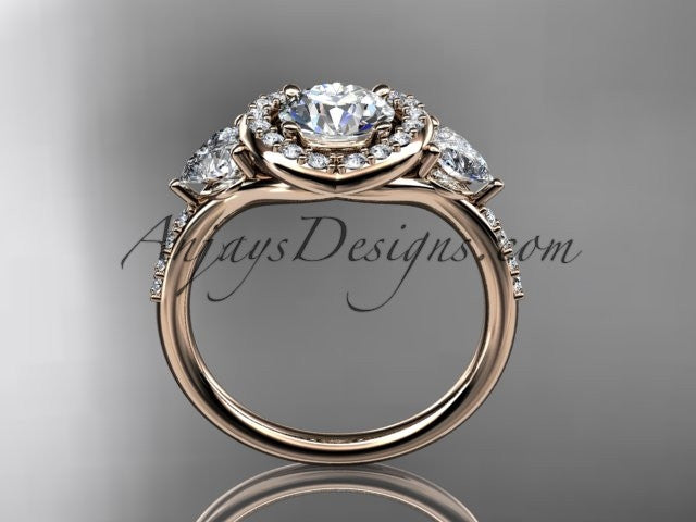 "14kt rose gold diamond unique engagement ring,wedding ring with a ""Forever One"" Moissanite center stone ADLR201 - AnjaysDesigns"