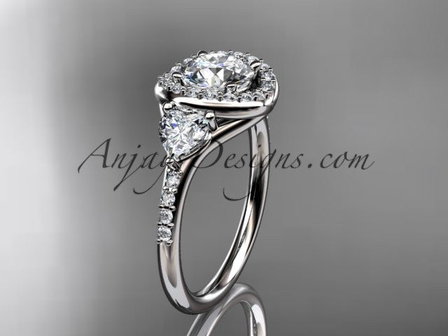 14kt white gold diamond unique engagement ring,wedding ring  ADLR201 - AnjaysDesigns