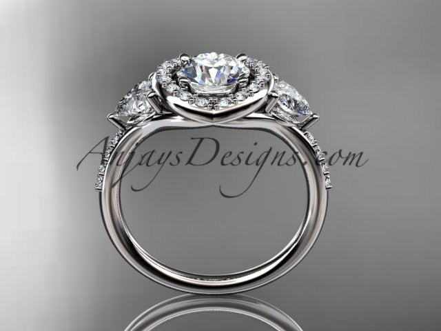 "Platinum diamond unique engagement ring,wedding ring with a ""Forever One"" Moissanite center stone ADLR201 - AnjaysDesigns"