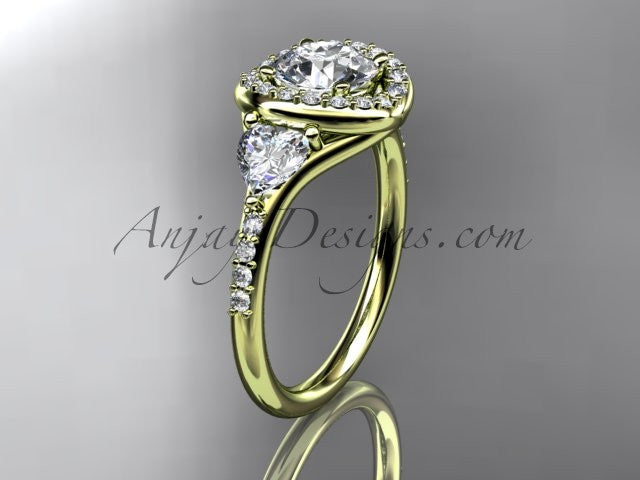 14kt yellow gold diamond unique engagement ring,wedding ring  ADLR201 - AnjaysDesigns