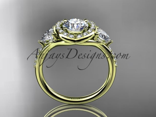 "14kt yellow gold diamond unique engagement ring,wedding ring with a ""Forever One"" Moissanite center stone ADLR201 - AnjaysDesigns"