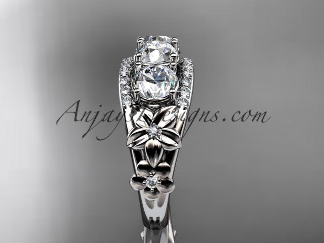 14kt white gold diamond flower 3 stone Forever One Moissanite wedding ring ADLR203 - AnjaysDesigns