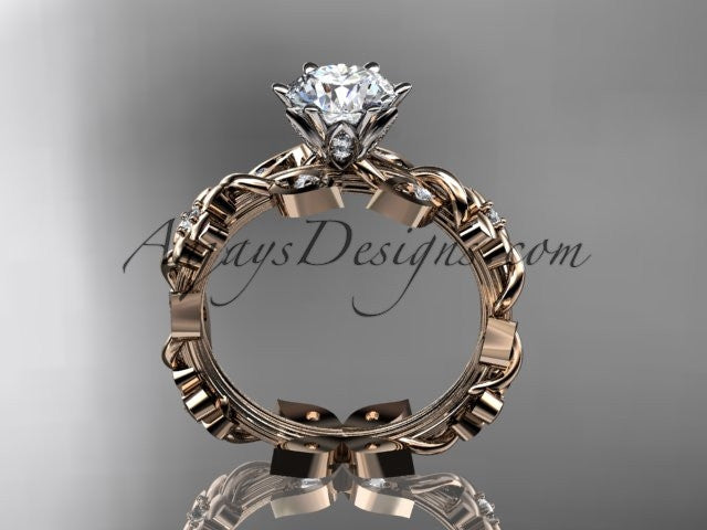"14kt rose gold diamond leaf and vine engagement ring with a ""Forever One"" Moissanite center stone ADLR209 - AnjaysDesigns"