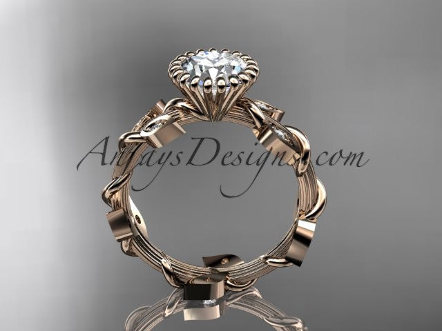14kt rose gold diamond leaf and vine wedding ring,engagement ring ADLR20A - AnjaysDesigns