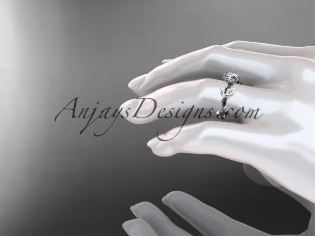 14kt white gold diamond leaf and vine wedding ring,engagement ring ADLR20A - AnjaysDesigns