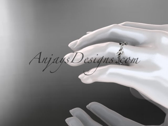 14kt white gold diamond leaf wedding ring, engagement ring, wedding band ADLR20B - AnjaysDesigns