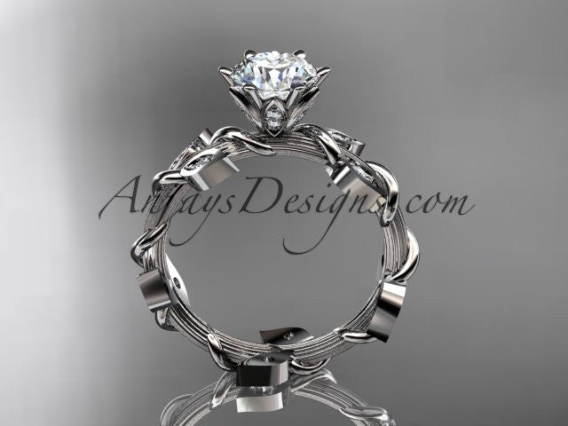 platinum diamond leaf and vine wedding ring,engagement ring ADLR20 - AnjaysDesigns