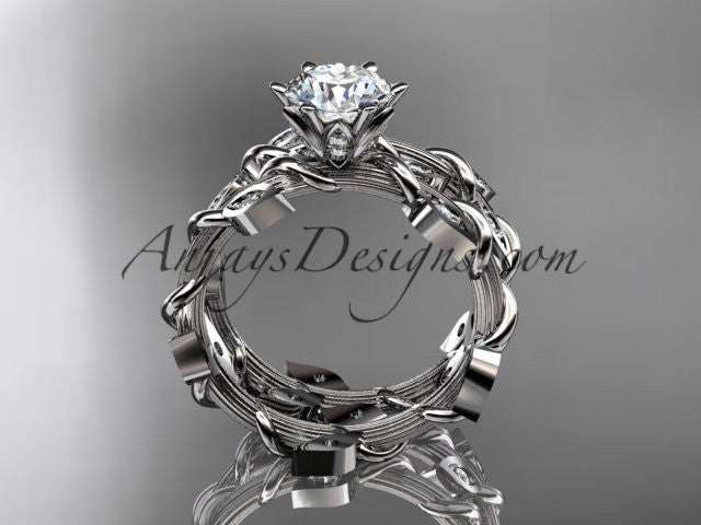 "14k white gold diamond leaf and vine engagement ring, engagement set with a ""Forever One"" Moissanite center stone ADLR20S - AnjaysDesigns"