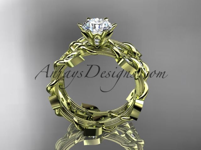"14k yellow gold diamond leaf and vine engagement ring, engagement set with a ""Forever One"" Moissanite center stone ADLR20S - AnjaysDesigns"