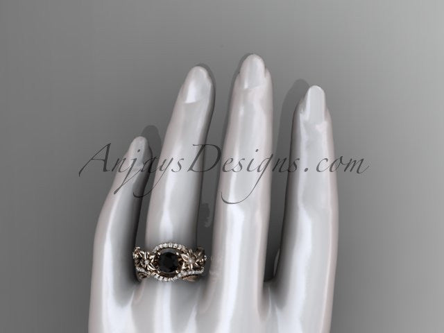 14kt rose gold diamond unique flower, leaf and vine engagement set with a Black Diamond center stone ADLR211 - AnjaysDesigns