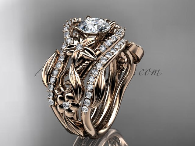 "14kt rose gold diamond leaf and vine engagement ring with ""Forever One"" Moissanite center stone and double matching band ADLR211 - AnjaysDesigns"