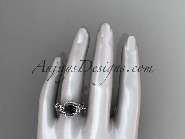 14k white gold flower diamond unique engagement ring with a Black Diamond center stone ADLR211 - AnjaysDesigns