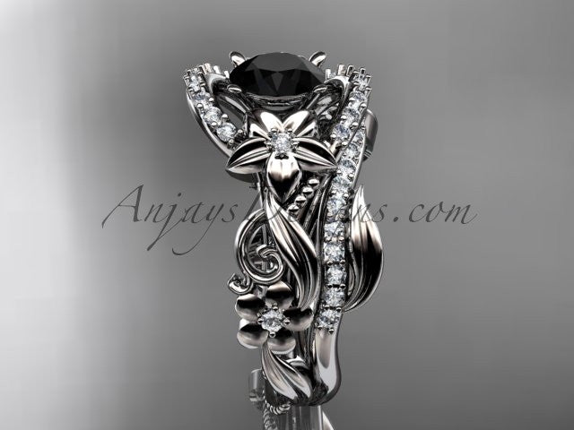 14kt white gold diamond unique flower, leaf and vine engagement set with a Black Diamond center stone ADLR211 - AnjaysDesigns