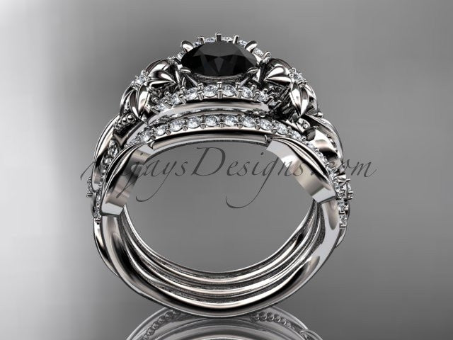 14kt white gold diamond leaf and vine engagement ring with  Black Diamond center stone and double matching band ADLR211 - AnjaysDesigns