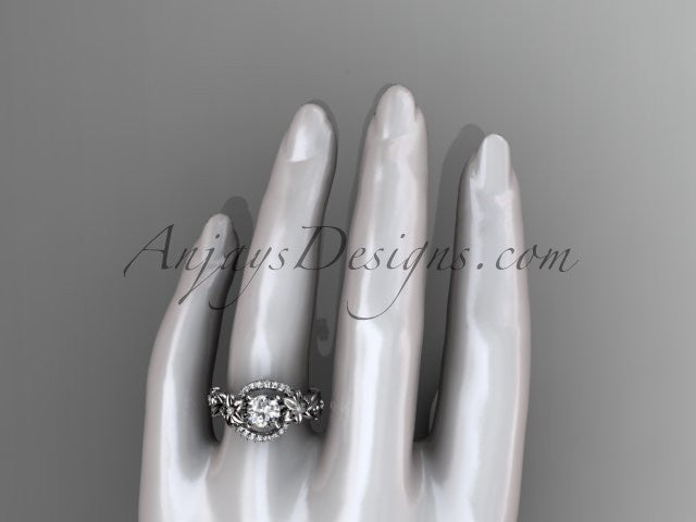 14k white gold flower diamond unique engagement ring ADLR211 - AnjaysDesigns