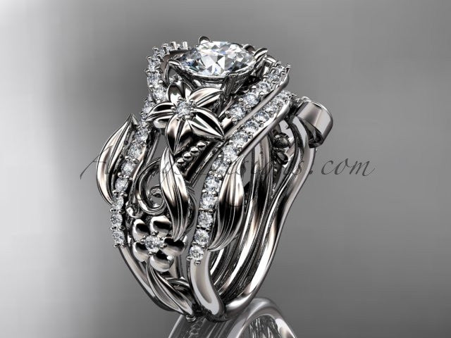 14kt white gold diamond leaf and vine engagement ring with double matching band ADLR211 - AnjaysDesigns