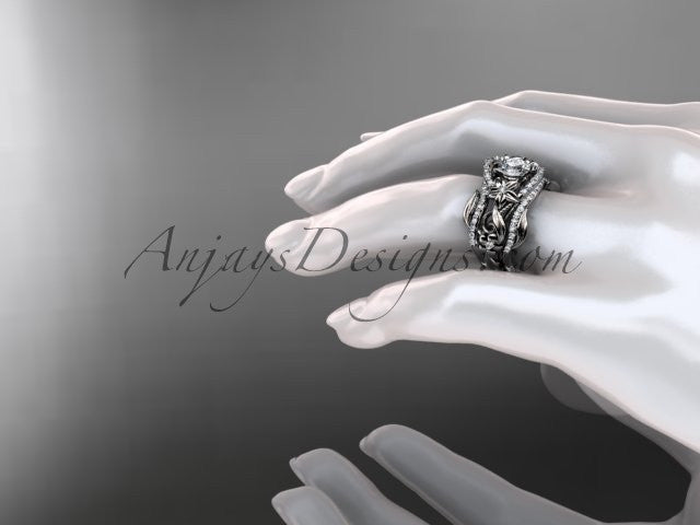 "14kt white gold diamond leaf and vine engagement ring with ""Forever One"" Moissanite center stone and double matching band ADLR211 - AnjaysDesigns"