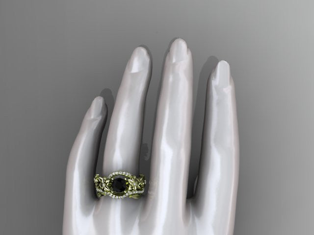 14kt yellow gold diamond unique flower, leaf and vine engagement set with a Black Diamond center stone ADLR211 - AnjaysDesigns