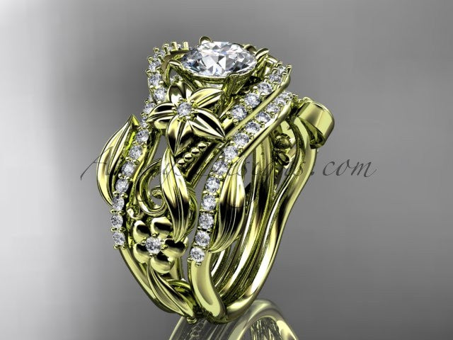 "14kt yellow gold diamond leaf and vine engagement ring with ""Forever One"" Moissanite center stone and double matching band ADLR211 - AnjaysDesigns"
