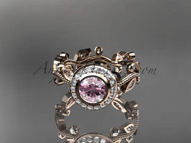14k rose gold diamond leaf and vine wedding ring,engagement ring with Morganite center stone ADLR212 - AnjaysDesigns