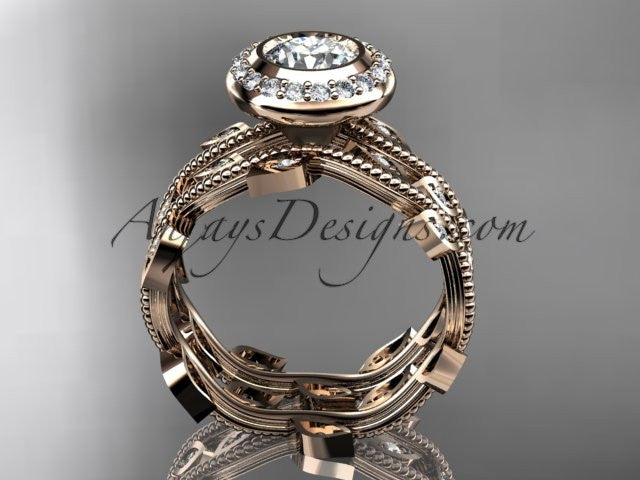 "14k rose gold diamond leaf and vine wedding ring, engagement ring, engagement set with a ""Forever One"" Moissanite center stone ADLR212S - AnjaysDesigns, Moissanite Engagement Sets - Jewelry, Anjays Designs - AnjaysDesigns, AnjaysDesigns - AnjaysDesigns.co,"