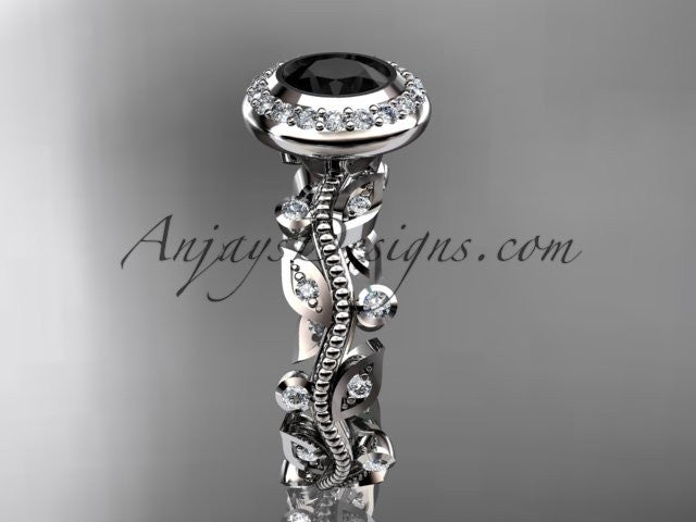 14k white gold diamond leaf and vine wedding ring, engagement ring with a Black Diamond center stone ADLR212 - AnjaysDesigns