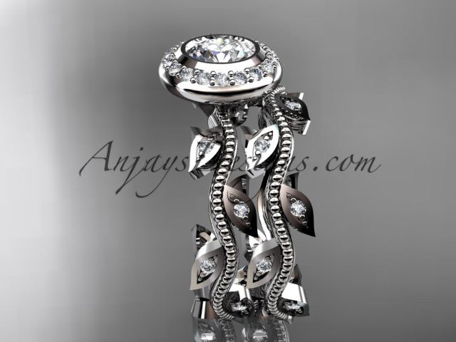 "Platinum diamond leaf and vine wedding ring, engagement ring, engagement set with a ""Forever One"" Moissanite center stone ADLR212S - AnjaysDesigns"