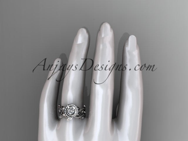 14k white gold diamond leaf and vine wedding ring, engagement ring, engagement set ADLR212S - AnjaysDesigns