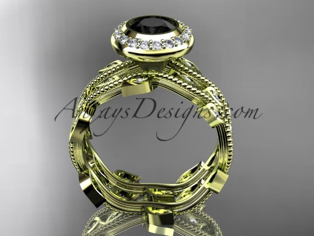 14k yellow gold diamond leaf and vine wedding ring, engagement ring, engagement set with a Black Diamond center stone ADLR212S - AnjaysDesigns