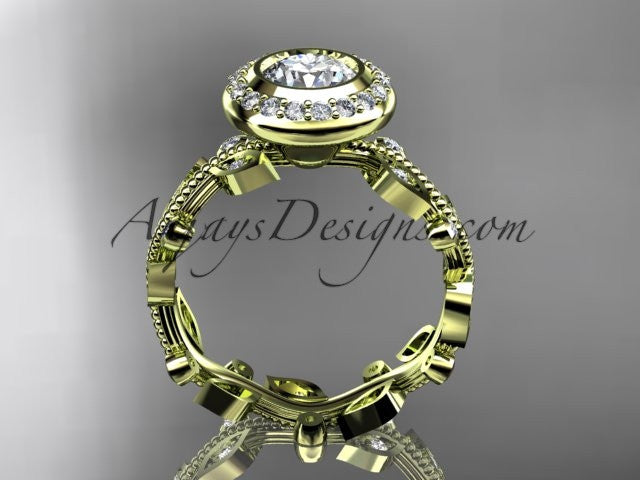 "14k yellow gold diamond leaf and vine wedding ring, engagement ring with a ""Forever One"" Moissanite center stone ADLR212 - AnjaysDesigns"