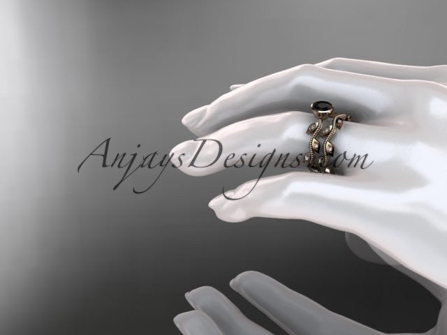 14k rose gold diamond leaf and vine wedding ring, engagement ring, engagement set with a Black Diamond center stone ADLR213S - AnjaysDesigns, Black Diamond Engagement Sets - Jewelry, Anjays Designs - AnjaysDesigns, AnjaysDesigns - AnjaysDesigns.co,
