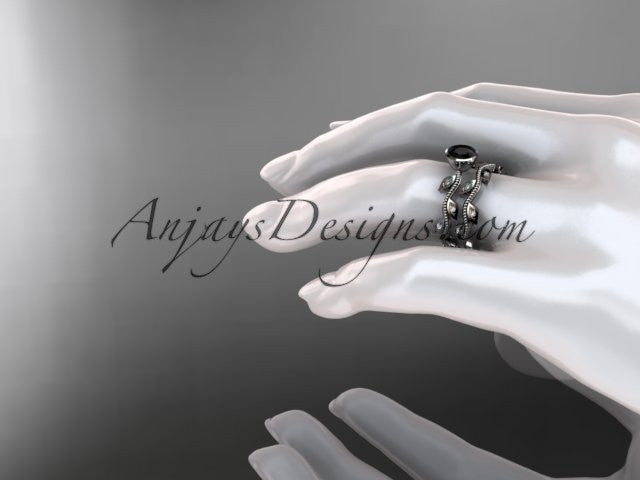 14k white gold diamond leaf and vine wedding ring, engagement ring, engagement set with a Black Diamond center stone ADLR213S - AnjaysDesigns