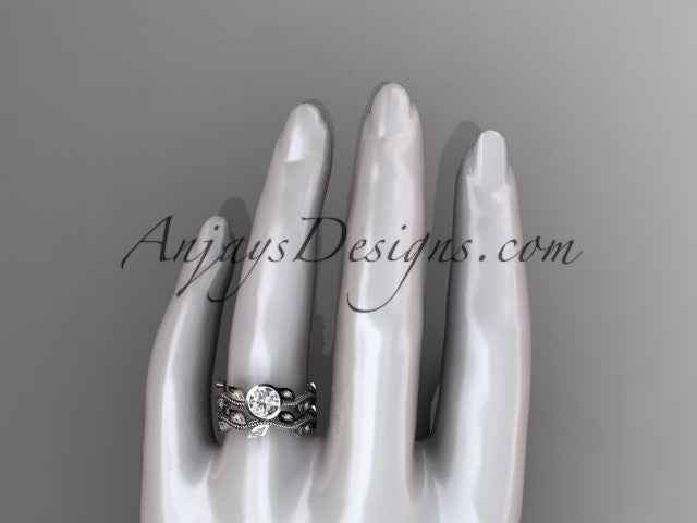14k white gold diamond leaf and vine wedding ring, engagement ring, engagement set ADLR213S - AnjaysDesigns
