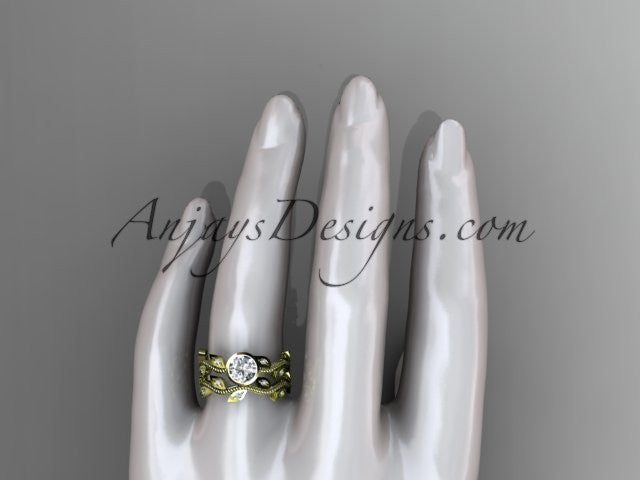 "14k yellow gold diamond leaf and vine wedding ring, engagement ring, engagement set with a ""Forever One"" Moissanite center stone ADLR213S - AnjaysDesigns"