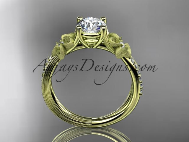 14kt yellow gold diamond leaf and vine wedding ring, engagement ring ADLR214 - AnjaysDesigns