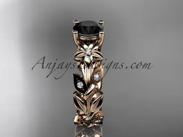 14k rose gold diamond floral leaf and vine wedding ring, engagement ring with a Black Diamond center stone ADLR215 - AnjaysDesigns, Black Diamond Engagement Rings - Jewelry, Anjays Designs - AnjaysDesigns, AnjaysDesigns - AnjaysDesigns.co,