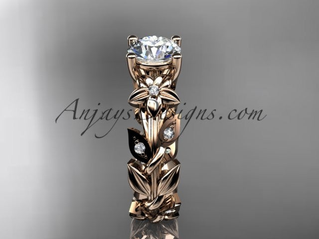 14k rose gold diamond floral leaf and vine wedding ring, engagement ring ADLR215 - AnjaysDesigns, Spring Collection - Jewelry, Anjays Designs - AnjaysDesigns, AnjaysDesigns - AnjaysDesigns.co,