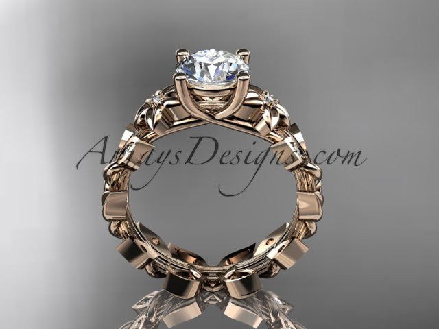 "14k rose gold diamond floral leaf and vine wedding ring, engagement ring with a ""Forever One"" Moissanite center stone ADLR215 - AnjaysDesigns, Moissanite Engagement Rings - Jewelry, Anjays Designs - AnjaysDesigns, AnjaysDesigns - AnjaysDesigns.co,"