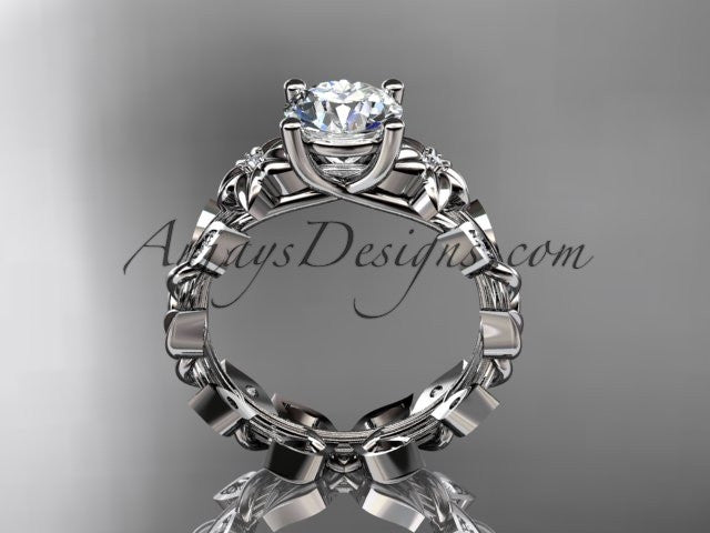 "14k white gold diamond floral leaf and vine wedding ring, engagement ring with a ""Forever One"" Moissanite center stone ADLR215 - AnjaysDesigns"