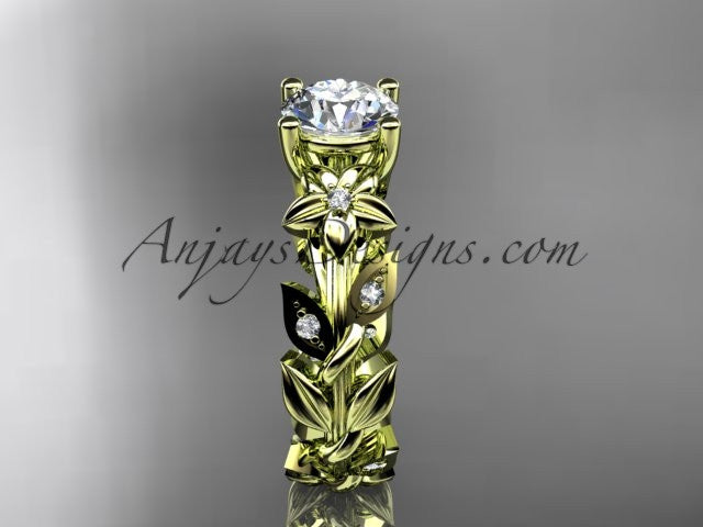 14k yellow gold diamond floral leaf and vine wedding ring, engagement ring ADLR215 - AnjaysDesigns