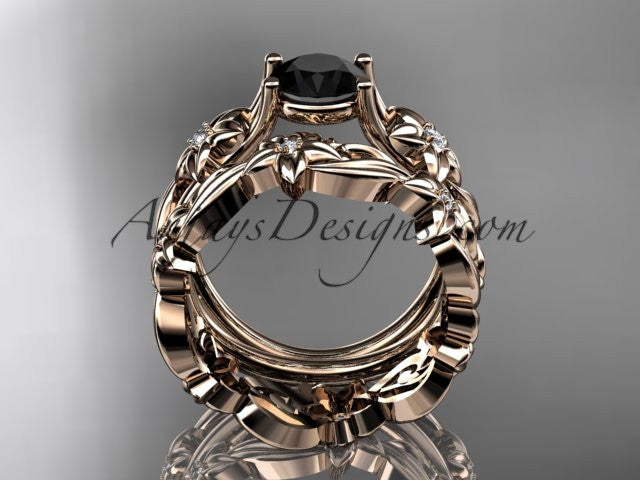 14k rose gold diamond floral wedding set, engagement set with a Black Diamond center stone ADLR216S - AnjaysDesigns, Black Diamond Engagement Sets - Jewelry, Anjays Designs - AnjaysDesigns, AnjaysDesigns - AnjaysDesigns.co,